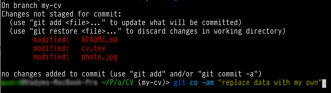 git status of changed files